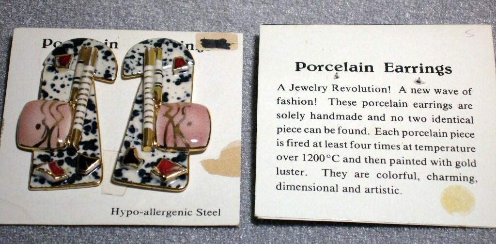 VINTAGE HANDCRAFT PORCELAIN earring Black Gold Red STUD