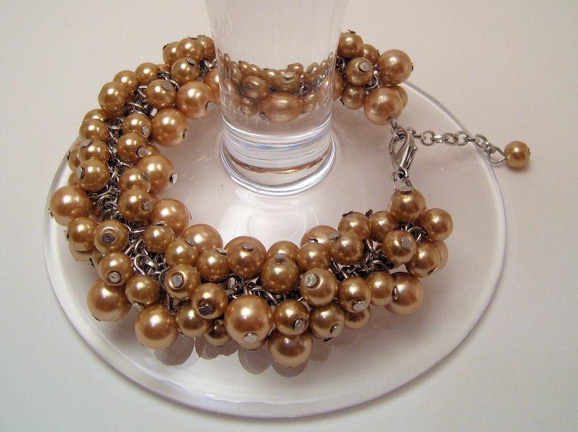 Bracelet gold sea shell pearls