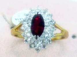 VINTAGE SPARKLE RUBY RED CRYSTAL 2 ROWS RHINESTONE 14K GOLD P.COCKTAIL R... - $14.95