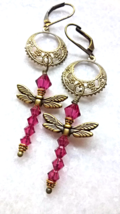 Fuchsia Swarovski crystal dragonfly earrings with antiqued brass filigree   - $32.00