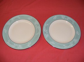 "Homer Laughlin Cavalier Romance 2 Dinner Plates 10 1/8"" Aqua - $15.00"