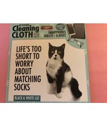 Microfiber cleaning cloth   black and white cat   funny saying   new thumbtall