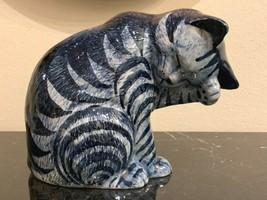 Vintage Delft Art Pottery Cat Figurine - $79.00
