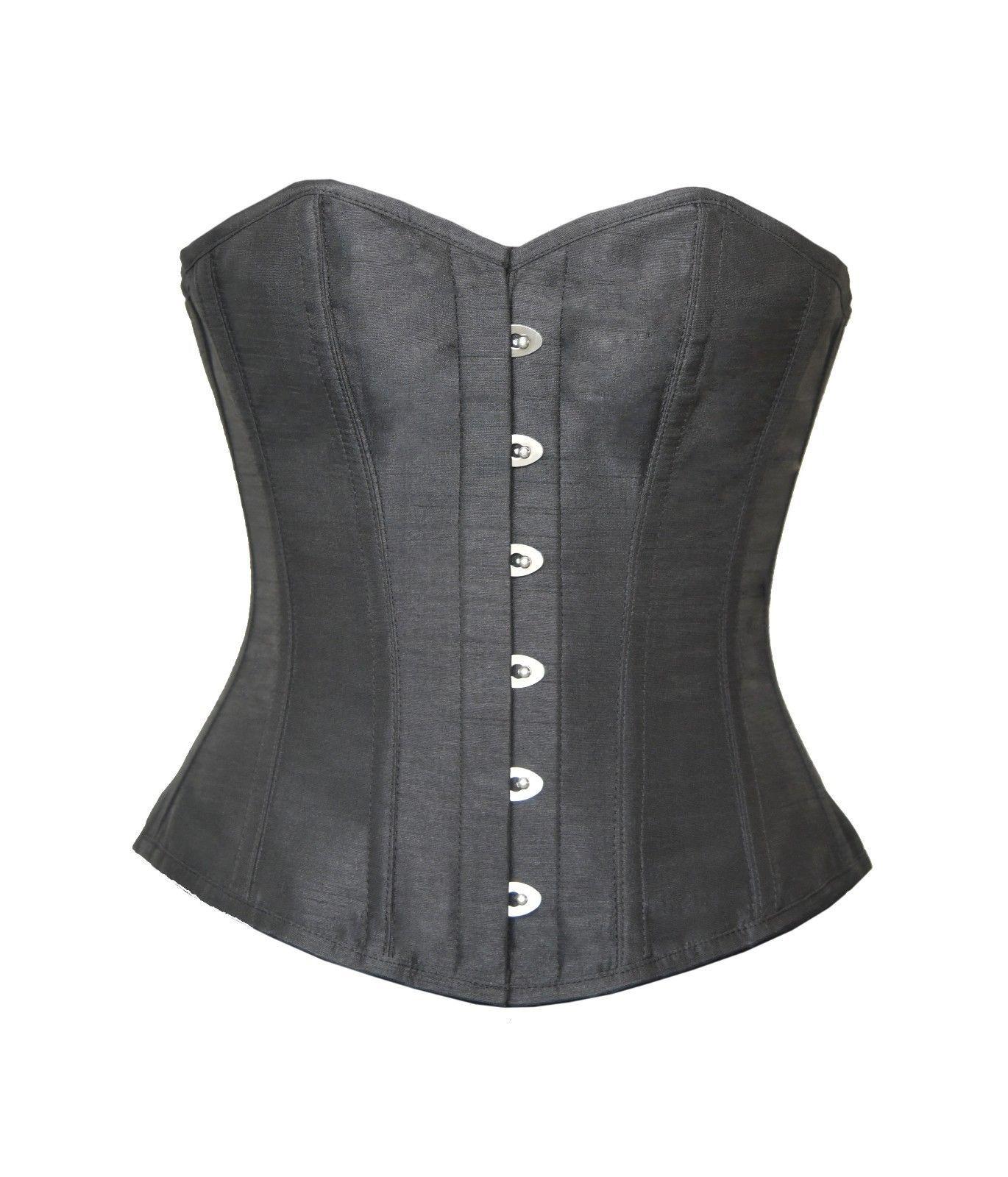 Black Silk Gothic Burlesque Costume Waist Cincher Basque Overbust Bustier Corset