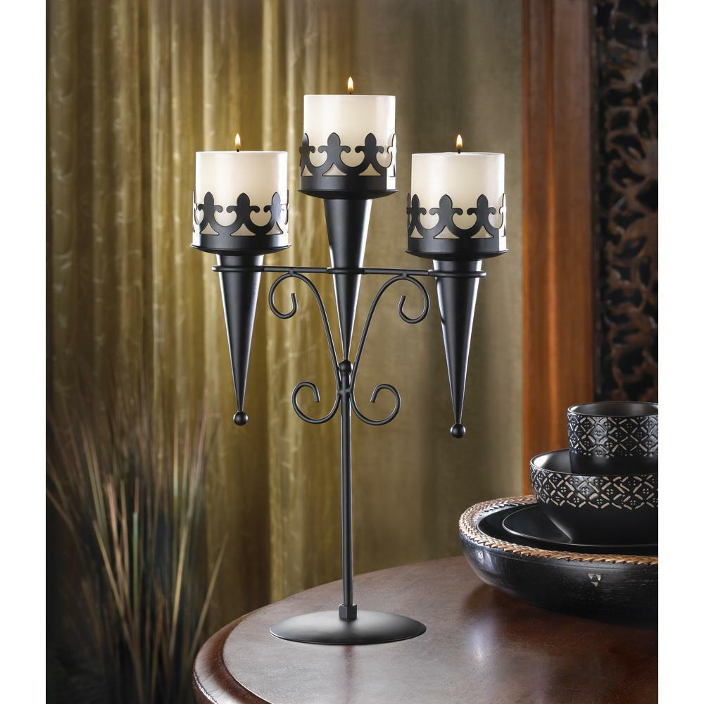 2 Medieval Gothic Triple Pillar Candle Holder Stand Set Pair Black Iron SL 14114 image 3
