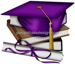 """3"""" Round ~ Purple Graduation Cap & Books Birthday ~ Edible Image Cake/Cupcake To - $7.00"""