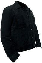 Men Rip Wheeler Yellowstone Cowboy Cole Hauser Black Jacket Suede Leather/Cotton image 3