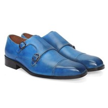 Handmade Men's Blue Monk Strap Two Tone Leather Shoes image 4