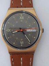 Vintage Gents Swatch Watch GX703 Courier 1988 Day and Date Brown Leather... - $53.35