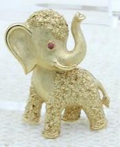 Vtg Crown Trifari Gold Tone Red Eye Rhinestone Elephant Pin Brooch - $99.00