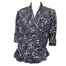 Gap Womens Black Gray Print 3/4 Sleeve Sheer Button Down V Neck Top Blouse S - $12.87