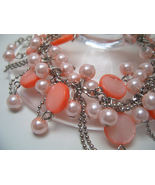 Bracelet Sea Shell Pearls Peachy Mother of Pearl Pink  - $9.99