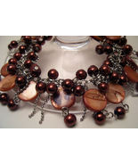 Bracelet Sea Shell Pearls Mother of Pearl Cocoa Brown - $9.99