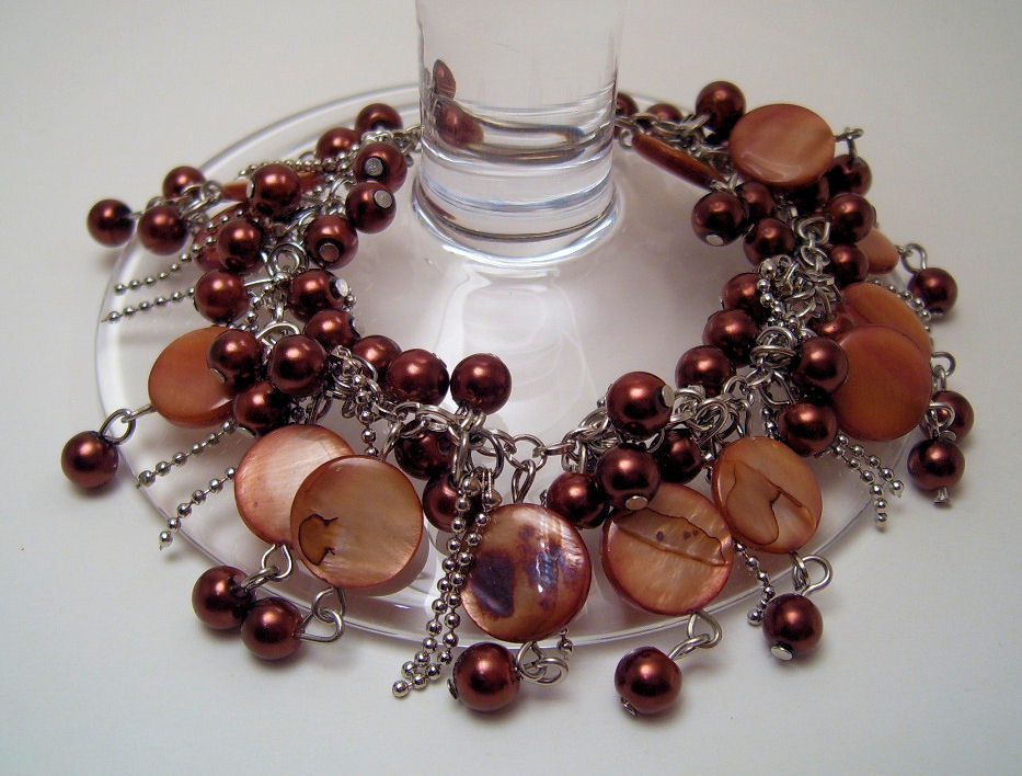 Bracelet Sea Shell Pearls Mother of Pearl Cocoa Brown