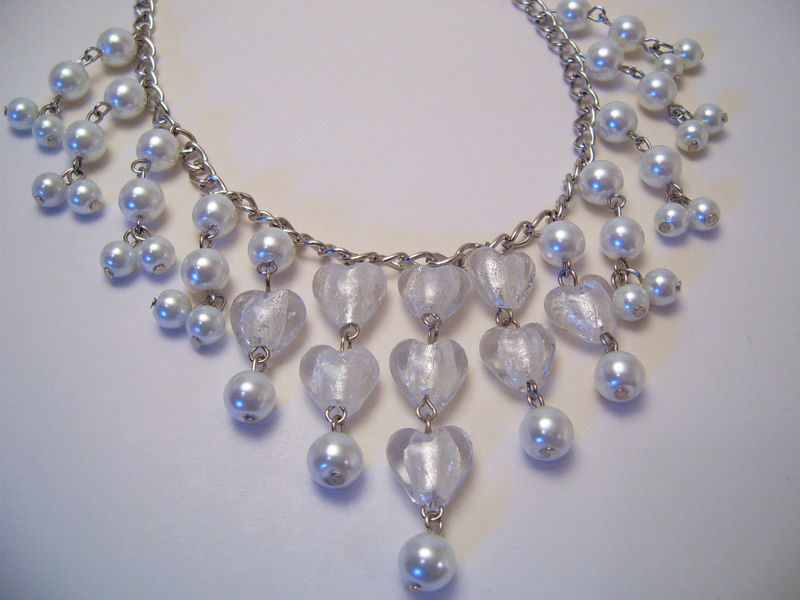 Necklace White Sea Shell Pearls Azure Glass Beads