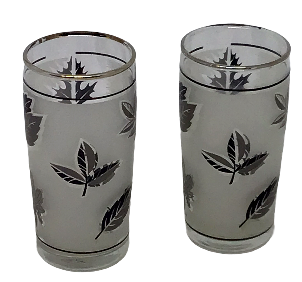 Libbey Juice Glass 2 Frosted Leaves Autumn Silver Gray Vintage 1960s Mid Century - $16.82