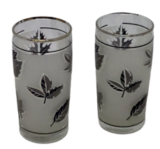 Libbey Juice Glass 2 Frosted Leaves Autumn Silver Gray Vintage 1960s Mid... - £12.02 GBP