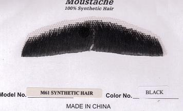 GENT'S BLACK SYNTHETIC HAIR MUSTACHE