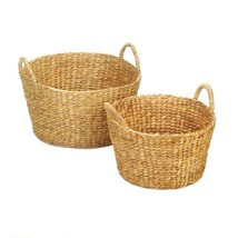 Round Wicker Baskets with Handles Boho Chic Set of 2  - $36.51