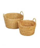 Round Wicker Baskets with Handles Boho Chic Set of 2  - $37.79