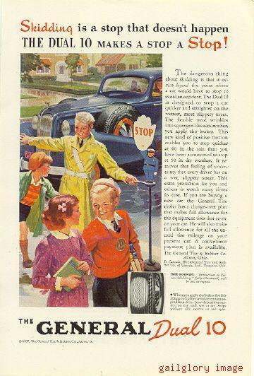 1937 General Dual 10 Tires 3 Vintage Magazine Ads