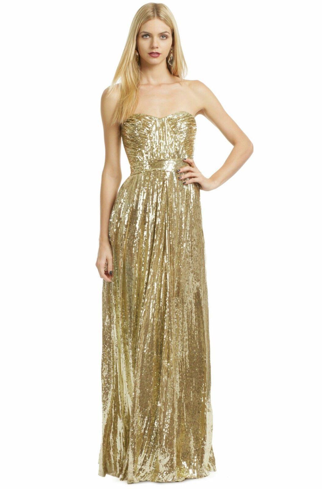BADGLEY MISCHKA STUNNING GOLD SILK SEQUIN RUNWAY PREGNACY WEDDING DRESS GOWN  4