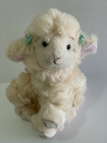 "Primary image for Russ Berrie Plush Lola Lamb Soft Stuffed Animal 5"" Cream White w Green Hair Bows"