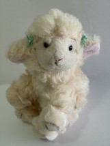 "Russ Berrie Plush Lola Lamb Soft Stuffed Animal 5"" Cream White w Green H... - $14.85"