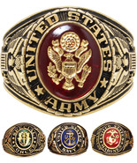 US Made Military Ring 18k Gold Plated Armed Forces Serviceman Soldier - $49.99