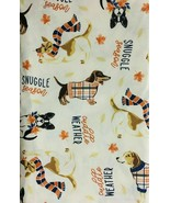 Dog Days of Fall Vinyl Flannel Back Tablecloth 60 Round - $19.79