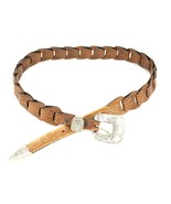 "VTG 1994 TONY LAMA Sz 30 1.5"" Brown HAND TOOLED BELT Articulated SIlver ... - $35.49"