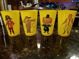 4 Vtg Yellow Plastic McDonald Cups All Different Ronald Burgler Crook Big Mac - $28.16