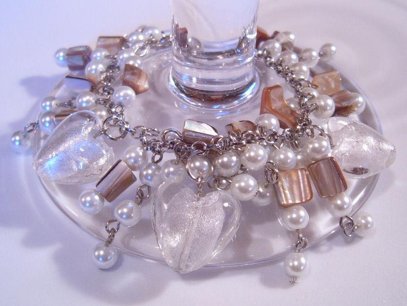 Bracelet white pearl azure glass gemstone chips