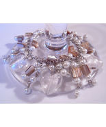 Bracelet Sea Shell Pearls Azure Glass Gemstone Chips White - $9.99