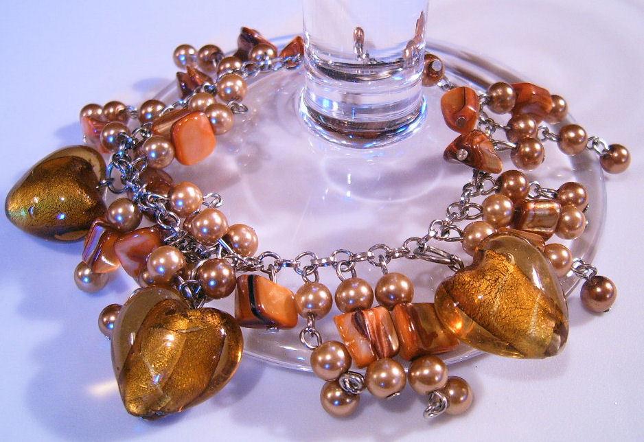 Bracelet Sea Shell Pearls Azure Glass Gemstone Chips White