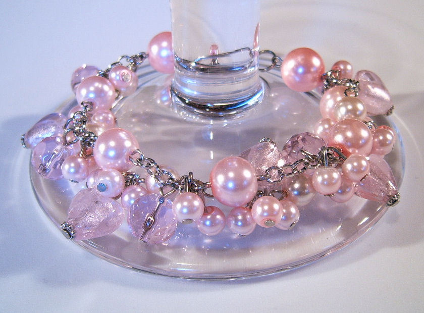 Bracelet pink pearls crystals azure beads
