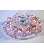 Bracelet Sea Shell Pearls Crystals Azure Glass Beads Pink - $9.99