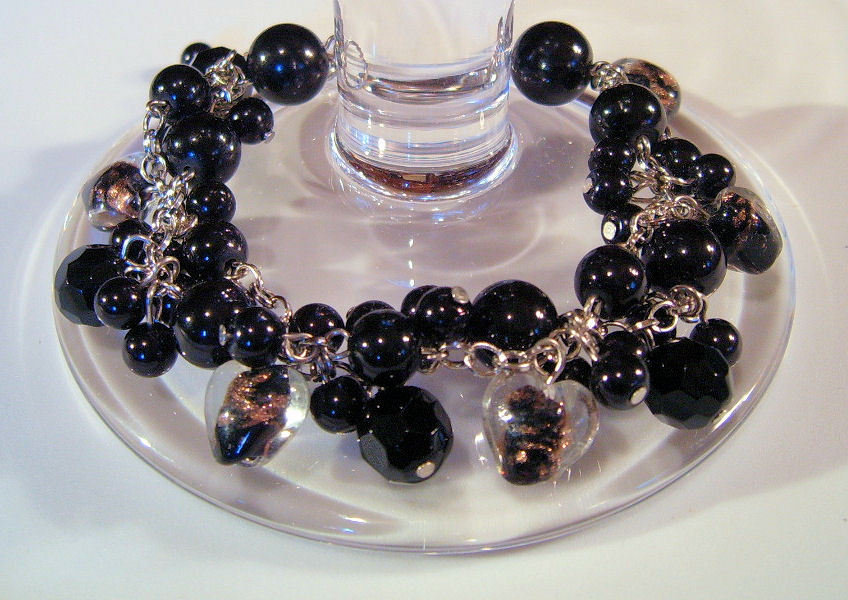 Bracelet Sea Shell Pearls Crystals Azure Glass Beads Black