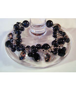 Bracelet Sea Shell Pearls Crystals Azure Glass Beads Black - $9.99