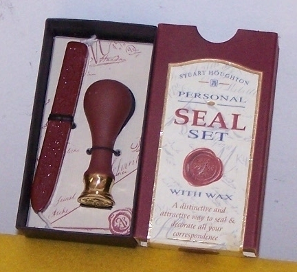 Personal Seal Set With Wax New in Original Box   With Instru