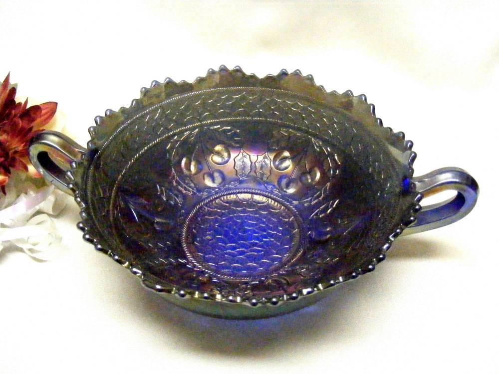 2222 Antique Fenton Cherry Circles Tiger Tooth Rim Round Cobalt Bowl  - $55.00