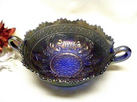 2222 Antique Fenton Cherry Circles Tiger Tooth Rim Round Cobalt Bowl  - $55.00