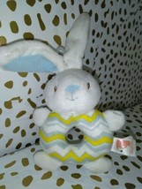 GUND Stuffed Plush Rattle Baby Infant White Blue yellow  Bunny  - $5.80