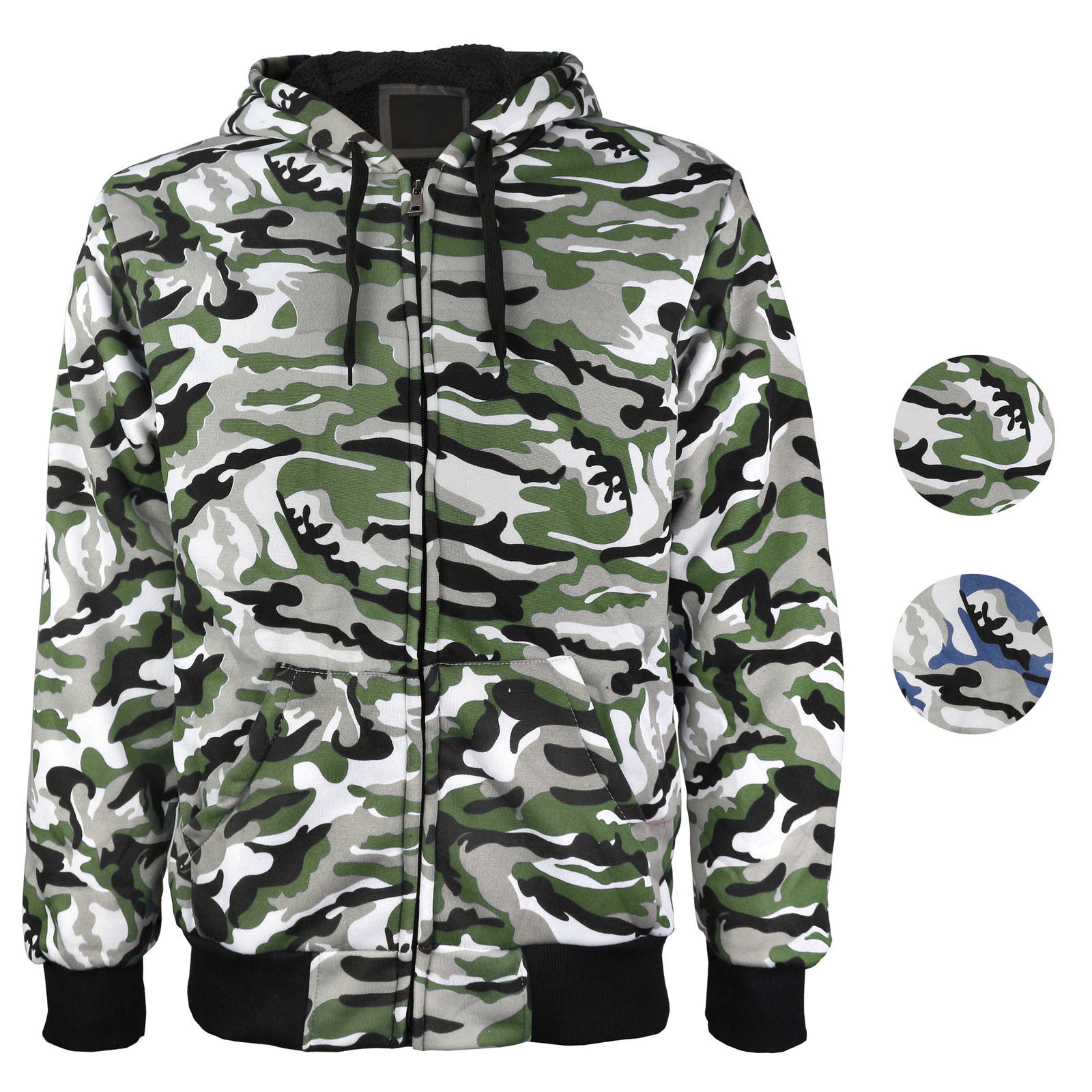 vkwear Men's Athletic Soft Sherpa Lined Slim Fit Camo Zip Hoodie Jacket