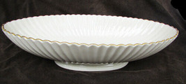 """Lenox fluted console serving bowl 24 kt gold trim 7x13"""" oval scalloped edge USA - $14.50"""