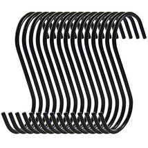 RuiLing Antistatic Coating Steel Hanging Hooks, Black, S-Shape, Pack of 15 image 7