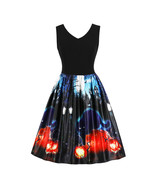 Halloween Printed Vintage Fitted Dress - $45.00