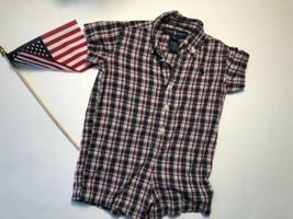 Ralph Lauren Baby Boy Navy Red White BLUE Plaid Cotton Shortall Romper 9 mo  - $9.90