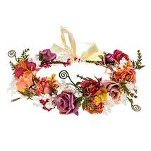 Adjustable Flower Headband Hair Wreath Floral Garland Crown Headpiece with Ribbo image 2