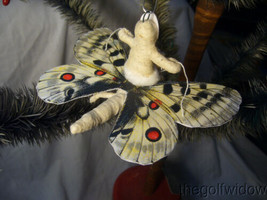 Spun Cotton Christmas Butterfly Ornament no. E27W Vintage by Crystal White image 2